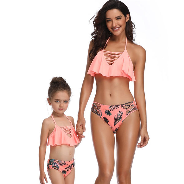 Mommy & Me Orange Leaves Printed Swimsuits