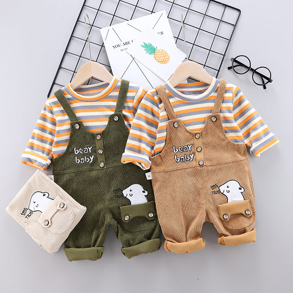 Kids Cute Striped Tops and Overalls Sets