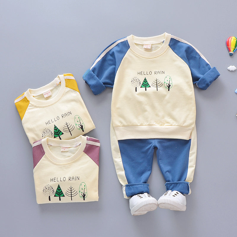 Kids Stylish Tree Print Tops and Pants Sets