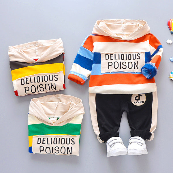 Boys Striped Hoodie Tops and Pants Sets