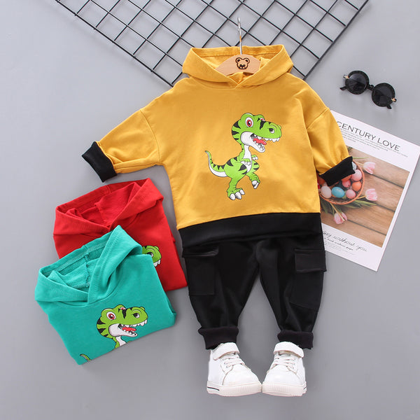Boys Dinosaur Hoodie Tops and Pants Sets