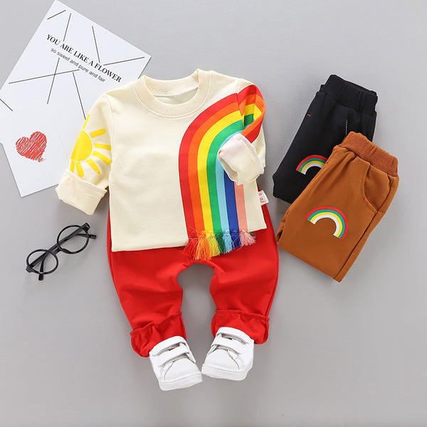 Boys Rainbow Long Sleeves Tops and Pants Sets
