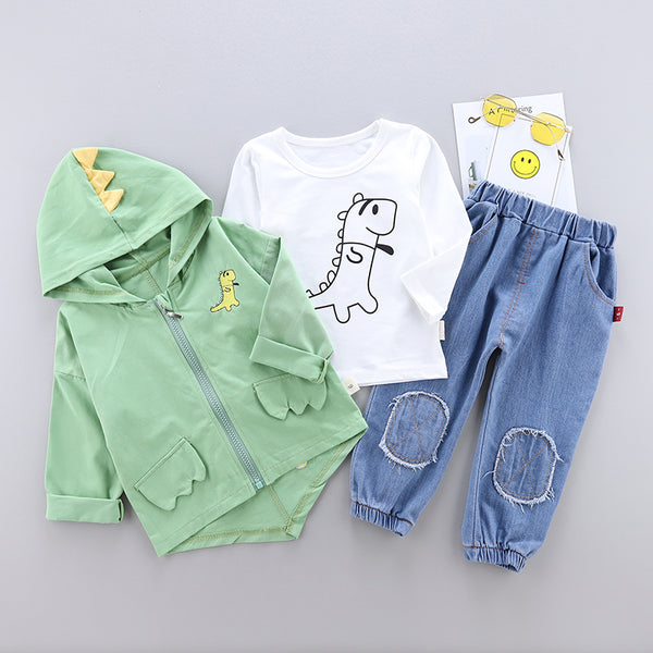 Boys Dinosaur Tops and Hoodie Jacket with Pants Sets