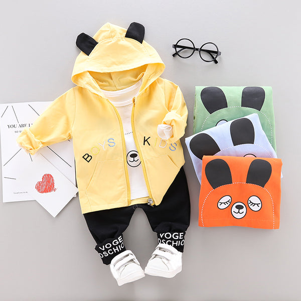 Boys Puppy Tops and Hoodie Jacket with Pants Sets