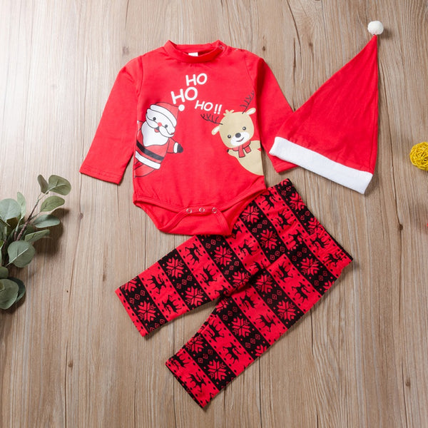 Christmas Printing Rompers and Pants with Hat Set