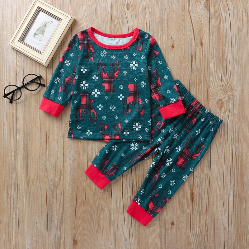 Christmas Deer and Snow Print Tops and Pants Sets