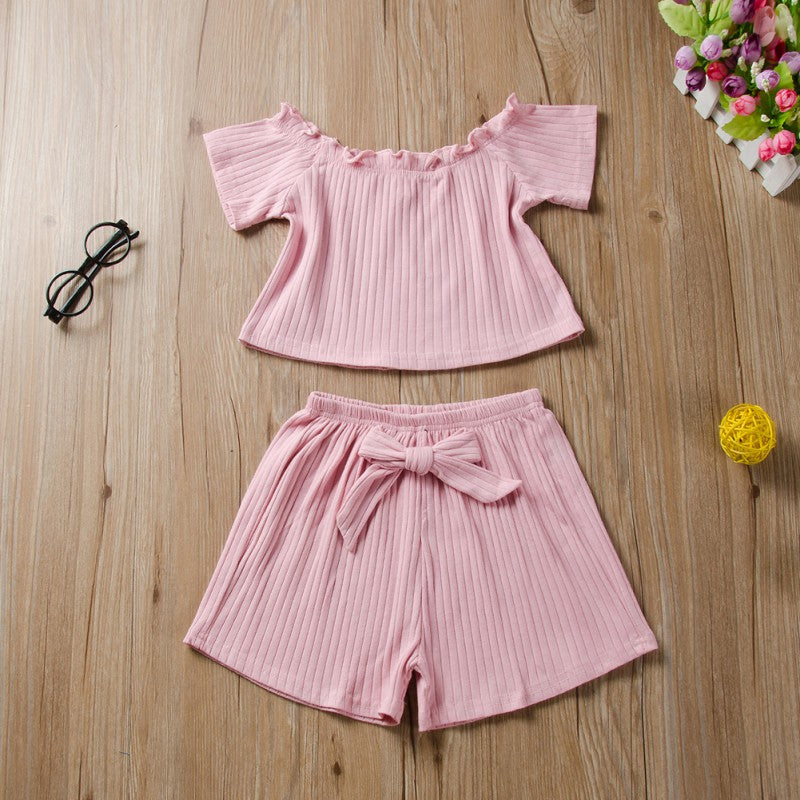 Girls Short Sleeve Off-shoulder Tops and Shorts Set