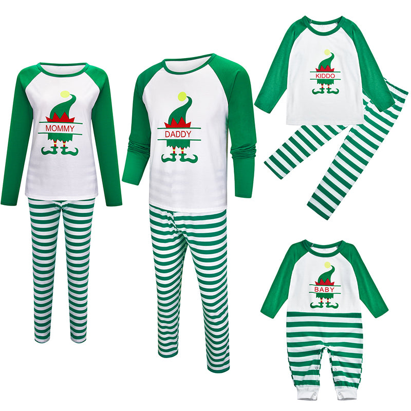 Christmas Green Striped Print Family Matching Pajamas Set