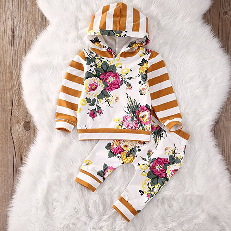 Girls Floral Striped Hoodie and Pants Sets