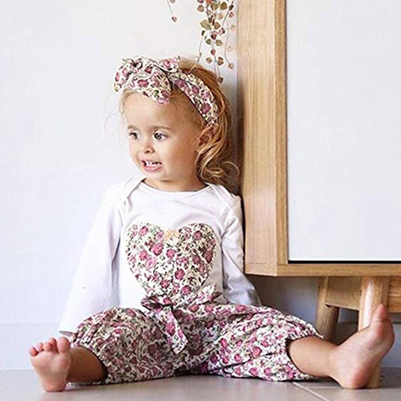 Girls Floral Rompers and Pants with Headband Sets