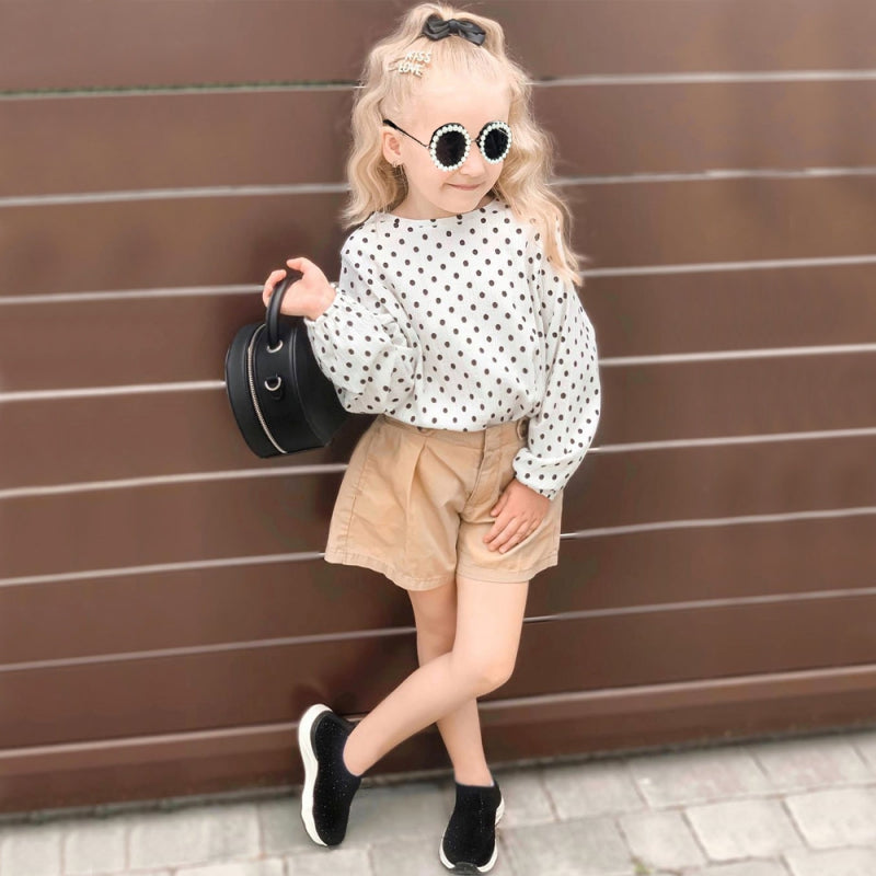 Girls Dotted Long-sleeved Tops and Pants Sets