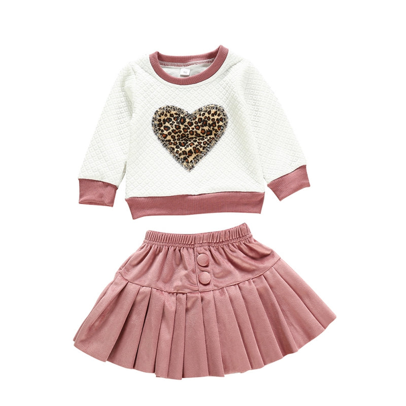 Two Piece Girls Cute Round Neck Leopard Embroidery Sweater and Skirt Sets