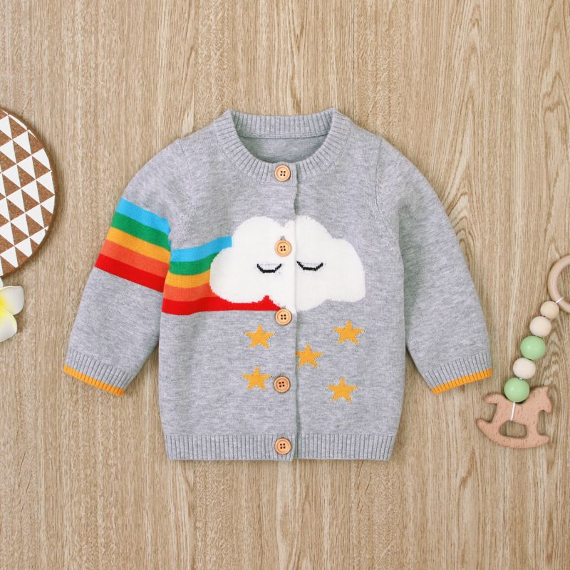 Kids Cardigan Cartoon Print Knitted Cotton Casual Coat