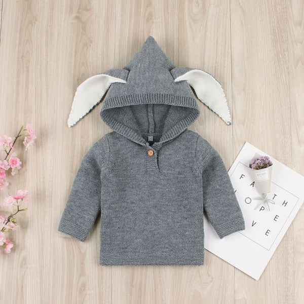 Kids Print Knitted Ear Hoodie Sweater Coat
