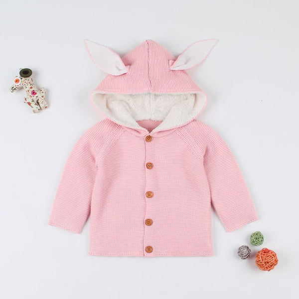 Kids 3D Ear Cute Knitted Hoodie Sweater Coat