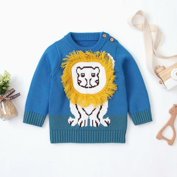 Kids Cartoon Print Warm Sweater