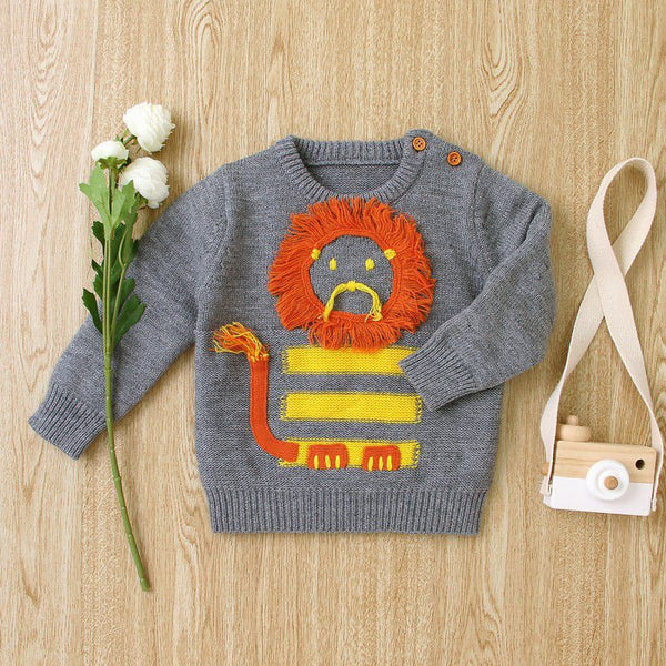 Kids Cartoon Animal Print Cute Sweater