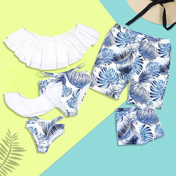 Summer Leaf Print Family Matching Swimsuits