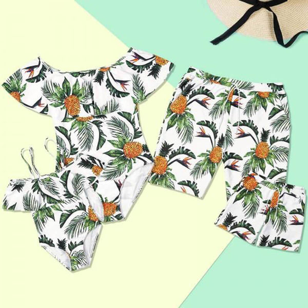 Summer Pineapple Print Family Matching Swimsuits