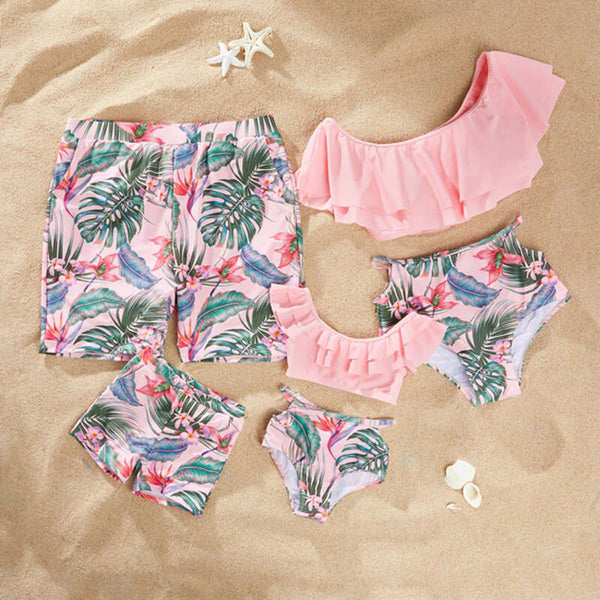 Family Matching Summer Flower and Leaf Print Swimsuits
