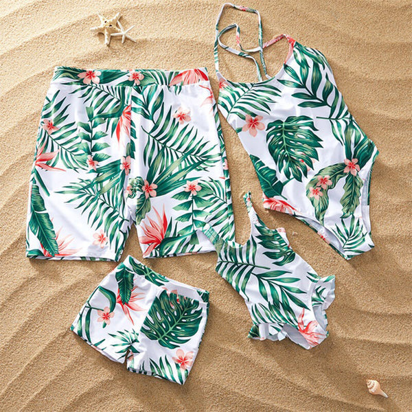 Summer Floral Print Family Matching Swimwear