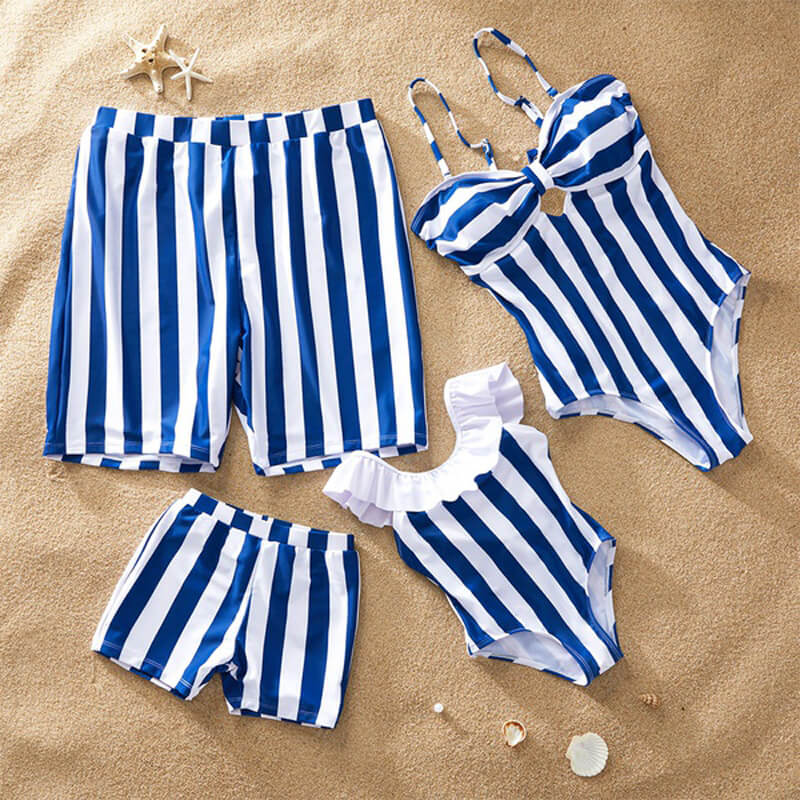 Family Matching Summer Blue Striped Swimsuits