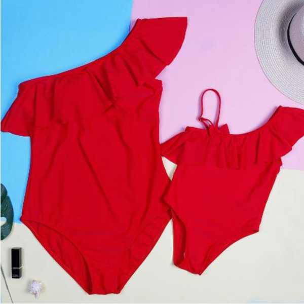 Mommy and Me Elegant Red One-piece Matching Swimsuits