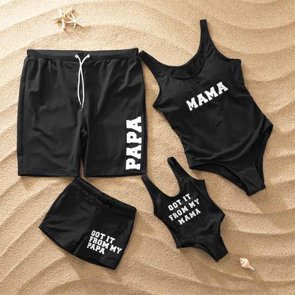 Letter Print Black Family Matching Swimwear