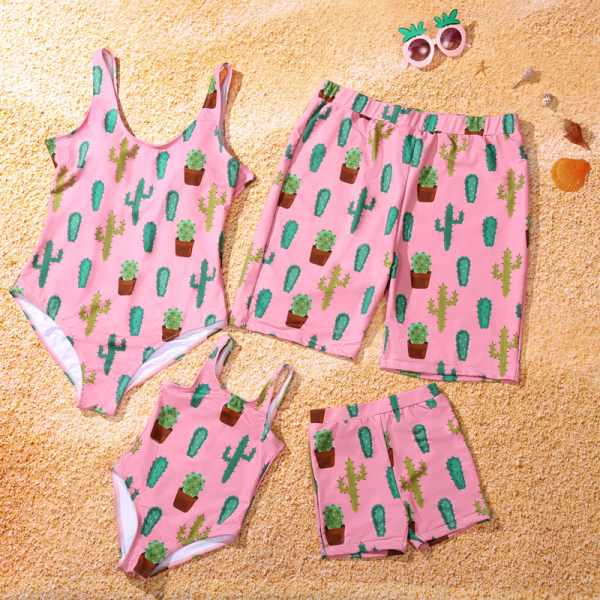 Family Matching Summer Cactus Print Swimsuits