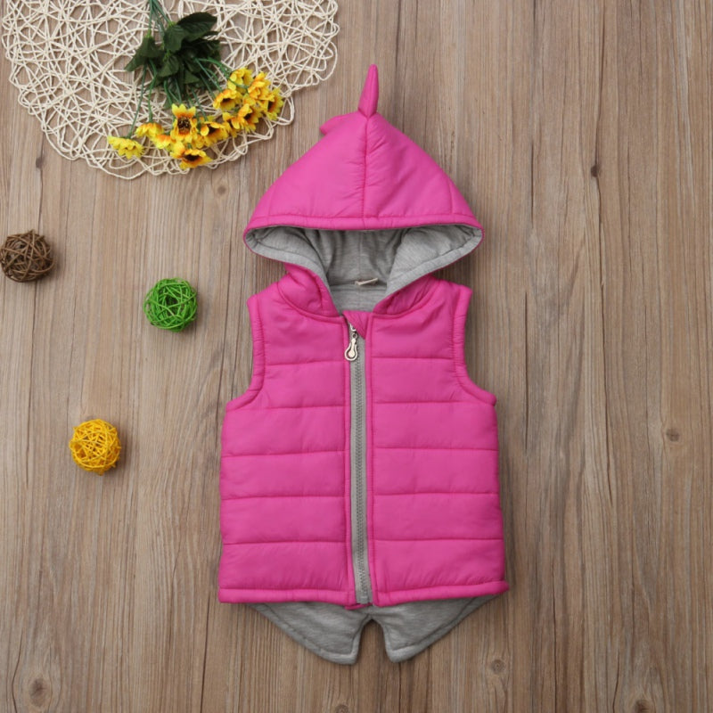Kids Girls Dinosaur Vest Hooded Coat