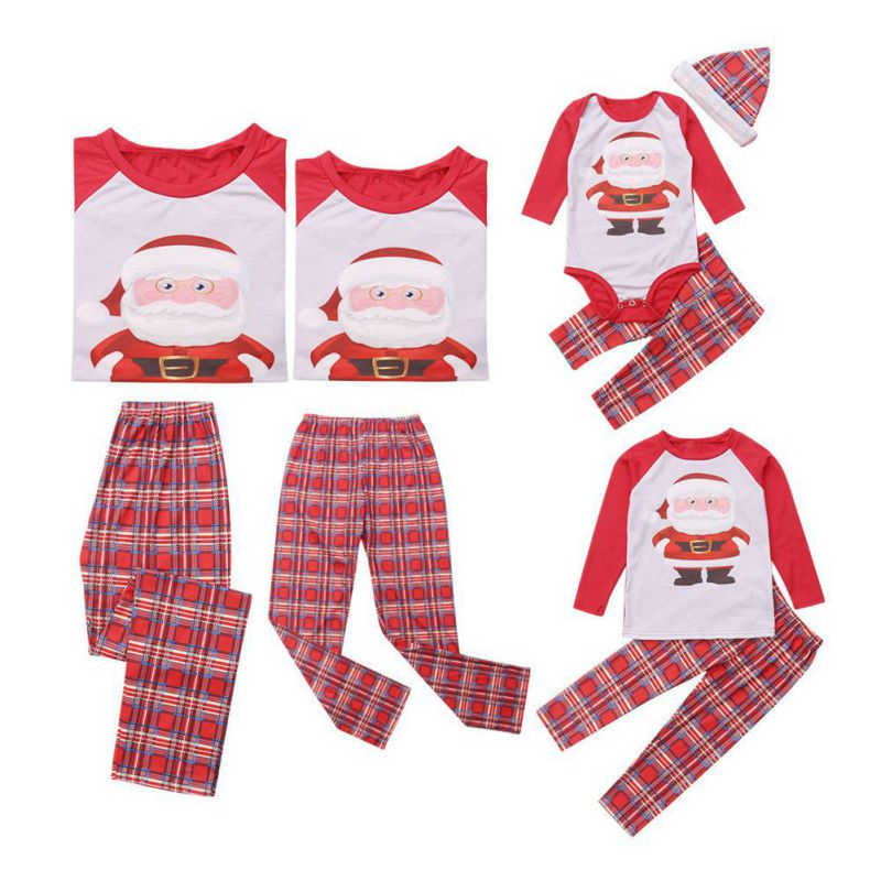 Christmas Santa Claus Plaid Family Matching Pajamas