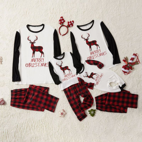 Christmas Red Striped deer Family Matching Pajamas Set