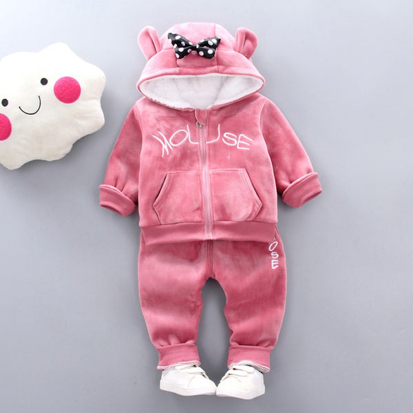 Girls Cute Soft Warm Long Sleeve Tops and Long Pants Set