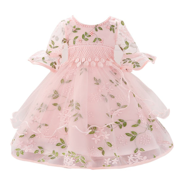 Girls Floral Princess Tulle Party Dress