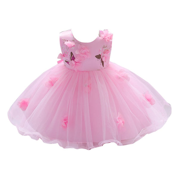 Girls Floral Sweet Tulle Party Dress