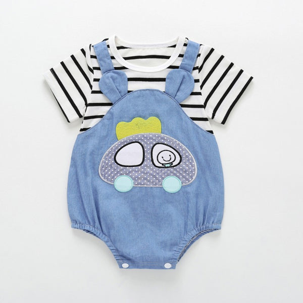 Baby Cute Striped Cartoon Car Rompers