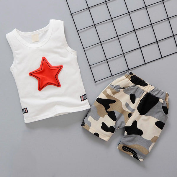 Boys Casual Sleeveless Star Print Vest and Shorts Set