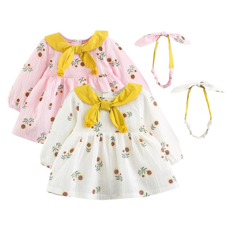 Girls Floral Bowknot Long-sleeved Dress with Headband