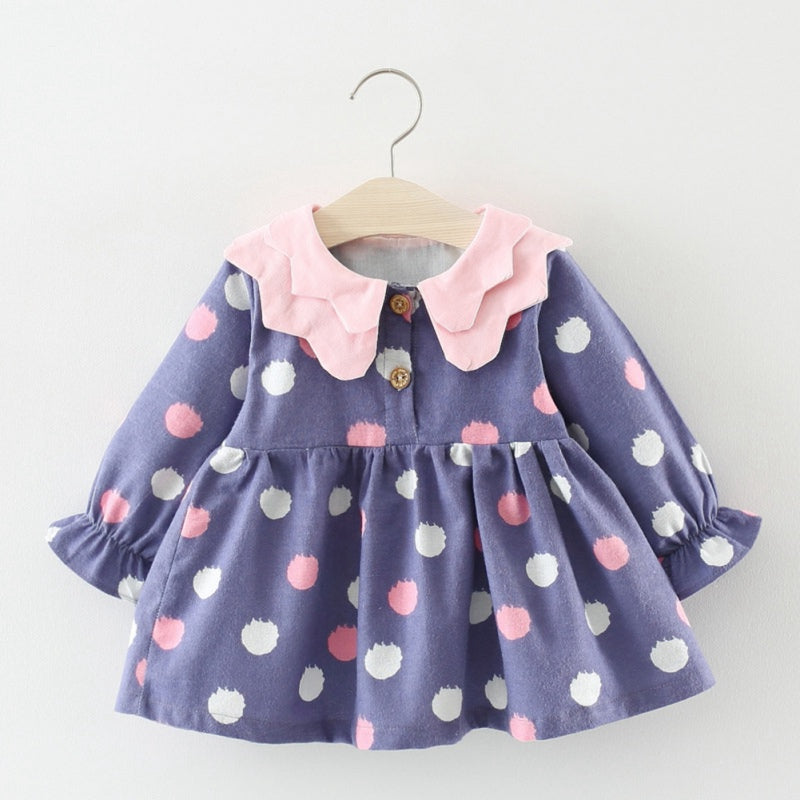 Girls Spring Autumn Dotted Long-Sleeved Sweet Dress