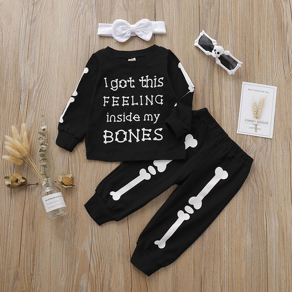 Halloween Bone Tops and Pants with Headband Sets