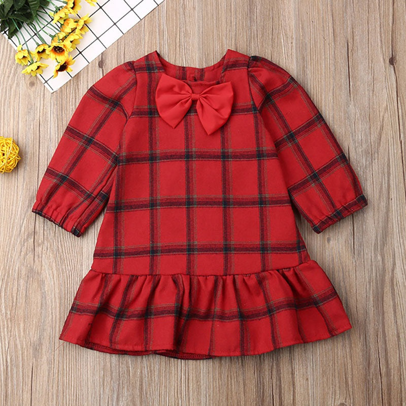Christmas Bowknot Sweet Plaid Dress for Girls