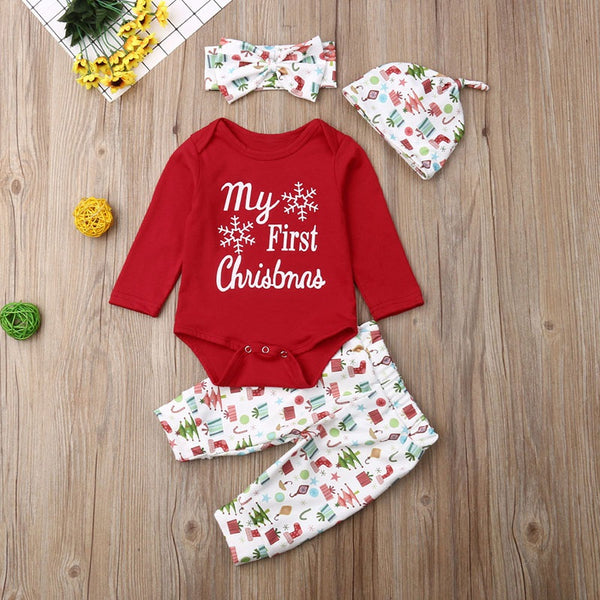 Christmas 4-piece Rompers and Pants with Hat&Headband Set