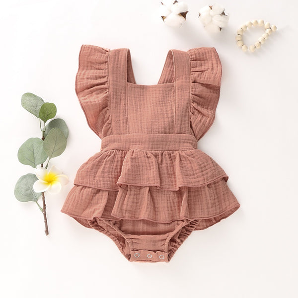 Girls Summer Cute Flare Sleeve Bodysuit