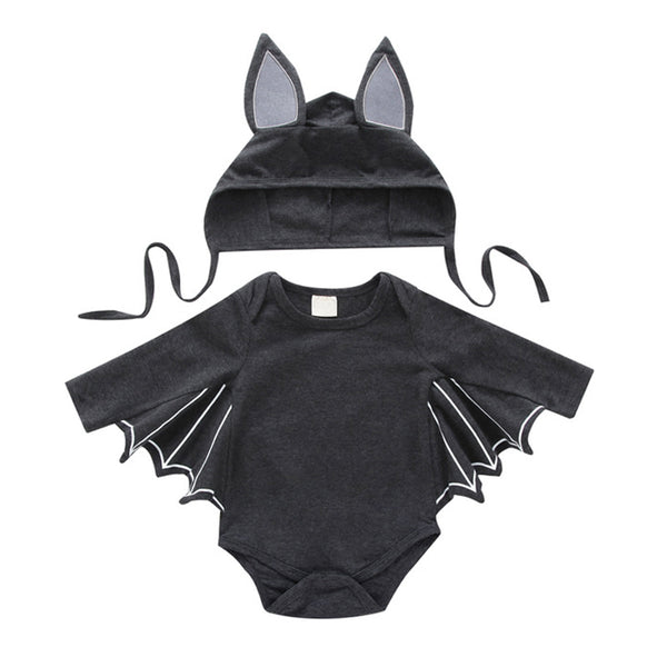 Baby Cotton Cartoon Bat Design Jumpsuit with Hat