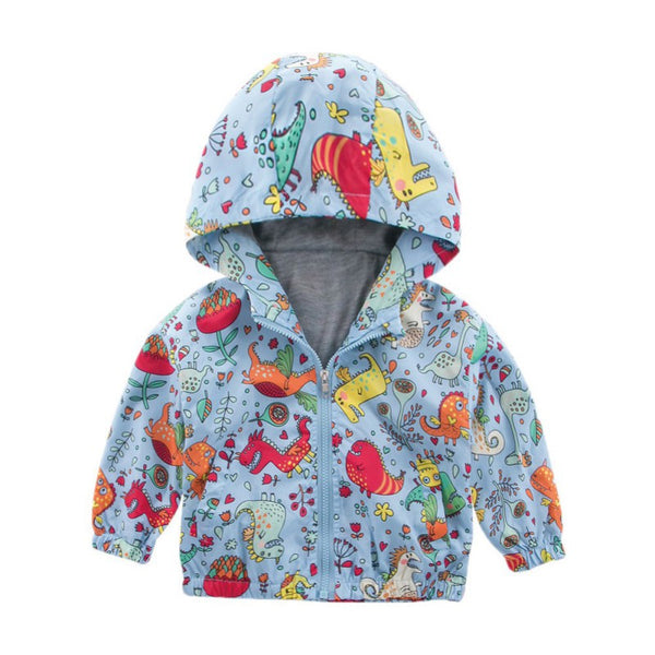 Kids Cartoon Dinosaur Hooded Windproof Jackets