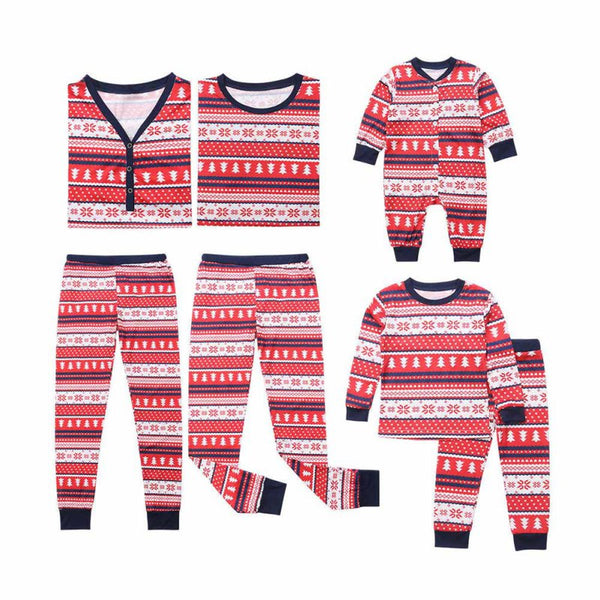 Red Striped Snowflake Christmas Family Pajamas