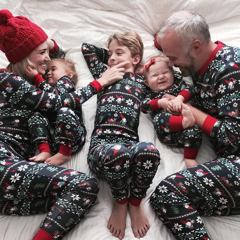 Black Striped Snowflake Christmas Family Pajamas