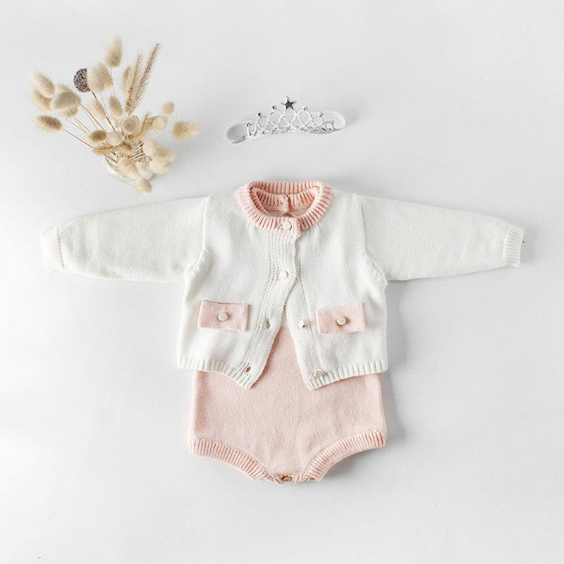Baby Cute Cardigan Casual Outerwear Coat and Knitting Rompers Outfits