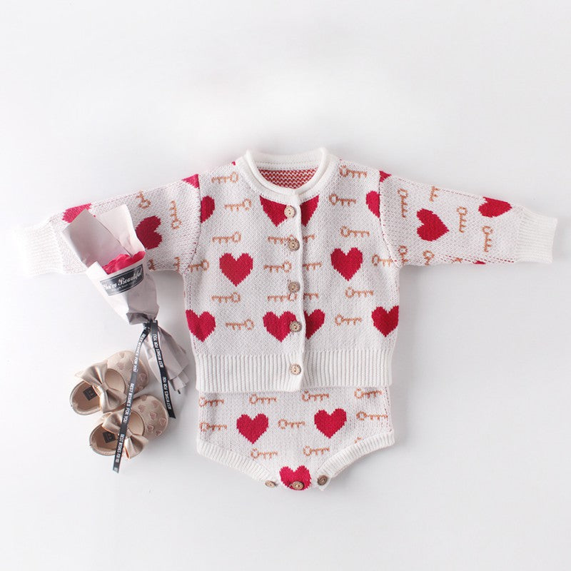 Baby Heart Print Outerwear Coat and Knitting Rompers Outfits