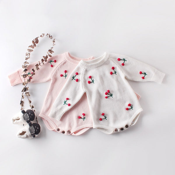 Baby Girls Cherry Print Knitting Jumpsuit